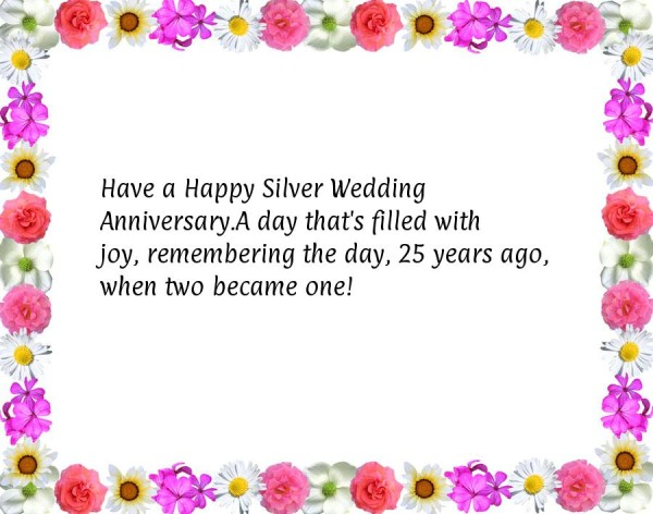 Warm wishes for silver jubilee anniversary silver jubilee in 2015 m4hsunfo